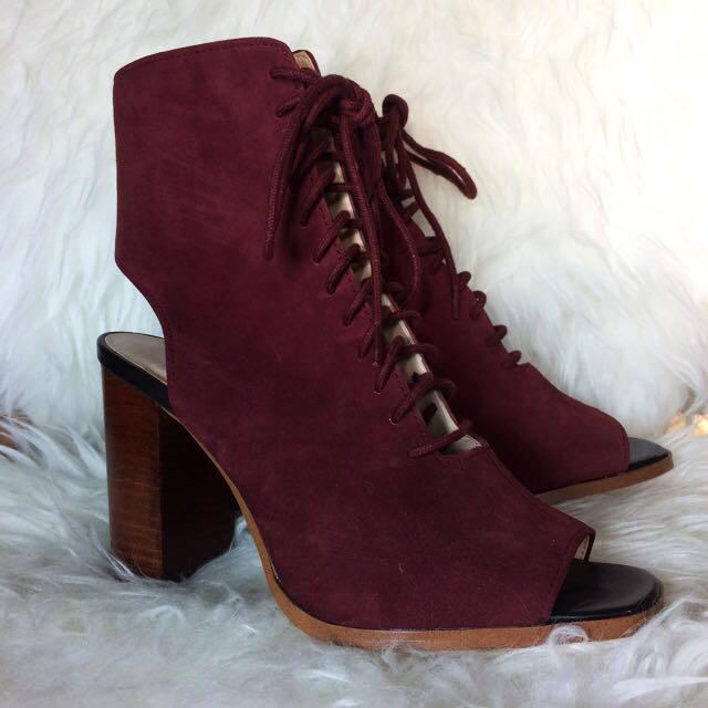 ZARA Lace-up Velvet Heels - Size 7.5