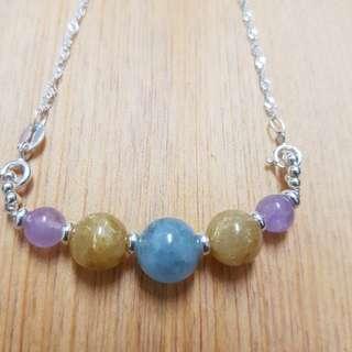 藍鈦之戀項鍊,海藍寶,鈦晶,薰衣草紫水晶,925純銀配件
