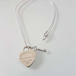 Tiffany Heart Tag With Key Pendant (medium Sized Pendant) Necklace