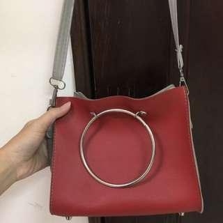 韓風圓形 方包 肩背 側背 手提 三用包 隨身小包 大容量