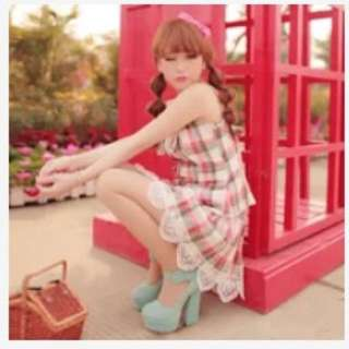 可愛日系甜美風 格子套裝 格子洋裝 蝴蝶結洋裝 細肩帶洋裝