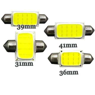 Festoon Led Bulb C5W   Please Unplug Your Stock Bulb, Measure The Length Before Making Purchase    Brighter Than Stock Bulb  ★Cob Festoon : Lights Evenly Spread  WHITE  31 36 39 41mm  ICE BLUE  31 36 39 41mm   Ceiling / License Plate Lights   IN STOCK