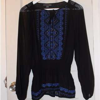 Sheer Black Blouse with Tribal Pattern
