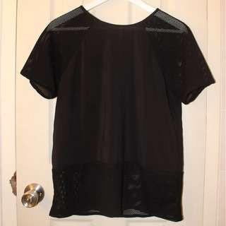 Black Sheer Shirt with Keyhole Back