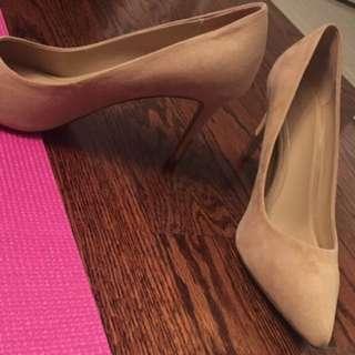 ALDO Nude Suede Pointed Toe Heels