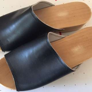 Leather & Wood Clogs