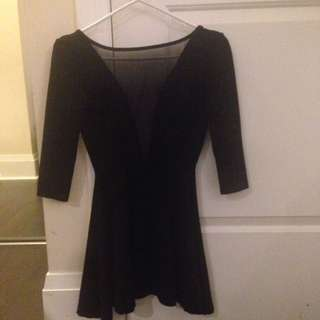 Black AA Dress With Mesh Front And Open Back
