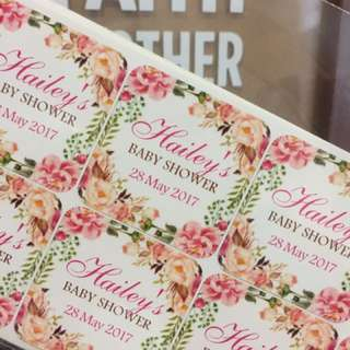 Floral Baby Shower Label Stickers - customised