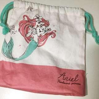 迪士尼 美人魚正版 收納束口袋
