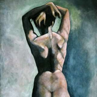 Female Figure Study (Back). Acrylic on canvas. 21x24 inches.