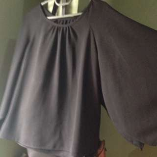 Black Women's Blouse With Bell Sleeves