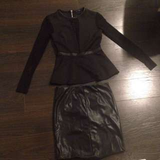 Black Dynamite Peplum Shirt With Mesh Front And Faux Leather Skirt
