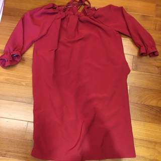 紅色七分袖洋裝
