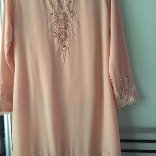 Kurung Moden peach colour with free post