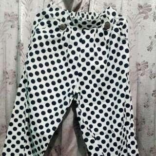 celana panjang ( kulot )polkadot putih biru