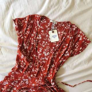 Red Floral Wrap Dress | New with tags