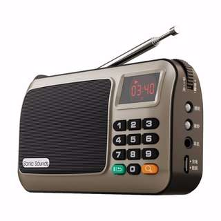 Sonic Sounds W405 Portable Mini FM Radio Speaker Music Player TF Card USB For PC iPod Phone with LED Display (Gold)