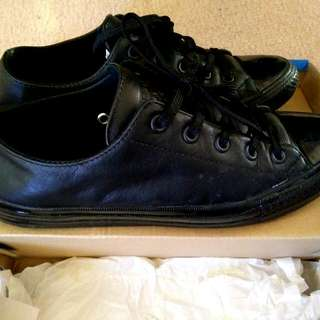 Black Leather Converse - GOOD CONDITION