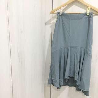灰藍色 氣質魚尾裙