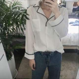 全新復古鋸齒滾邊雪紡襯衫#兩百元雪紡#兩百元襯衫