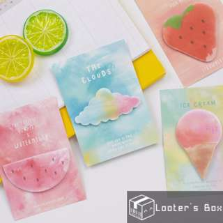 The Flavour of Summer Sky & Refreshing Fruit Watercolor Sticky Note