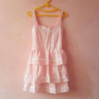 LaBELLE Korean Pink Dress Fit L (Bagus)