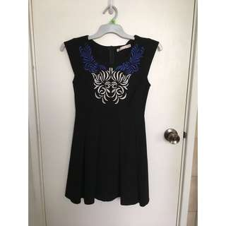 Black Cap Sleeve Dress with Vintage Style Embroidery