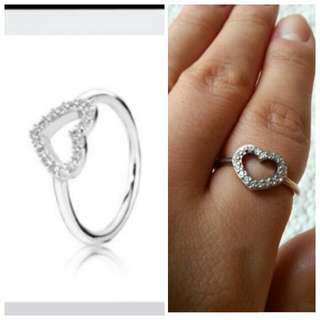REDUCED PRICE TO $25 from $30. #Pandora sterling #silver #heart shape #ring ♡. Size 56.