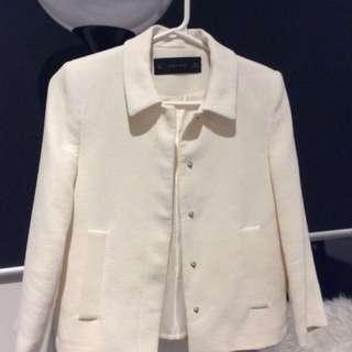 ZARA Cream Wafer Blazer Jacket AU 6-8 Size S