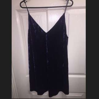 Navy Blue Velvet Slip Swing Dress Spaghetti Strap