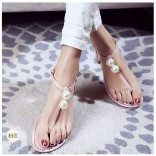 涼鞋 極簡 珍珠點綴 平底涼鞋 夾腳拖 A060521 POCKET@PCK