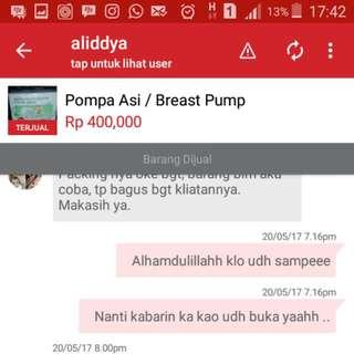 Testi Breast Pump Yang Dikirim Kepadang . Hehe😊