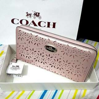 COACH Long Wallet 53331 Eyelet Leather Accordion Zip Around Wallet Pinkish White