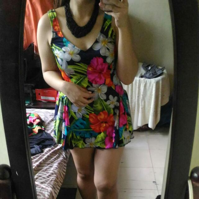 1pc Floral Skirt Swimsuit