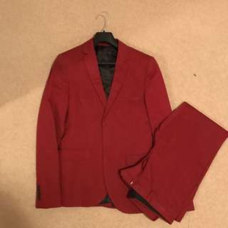 Top Man Maroon Suit - Jacket US36 Pants US30