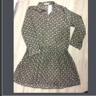 變形蟲長袖百摺雪紡洋裝(不含背心)#百元全新女裝