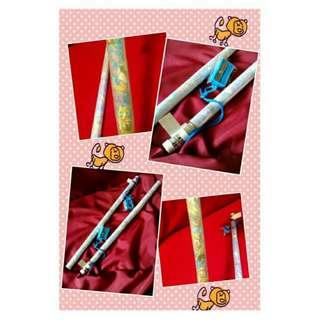 AUTHENTIC DISNEY 2 Long Jumbo Pencils w/ Sharpener