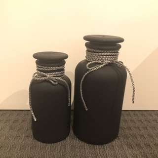 Black Glass Jar Set