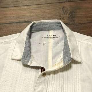 fcuk 白色長袖麻質長袖