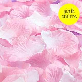 Rose Flower Petals Pink Ombre - Artificial Fake