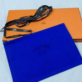 Authentic Hermes Flat Yachting Pouch GM in Bleu Smalt Color BNEW