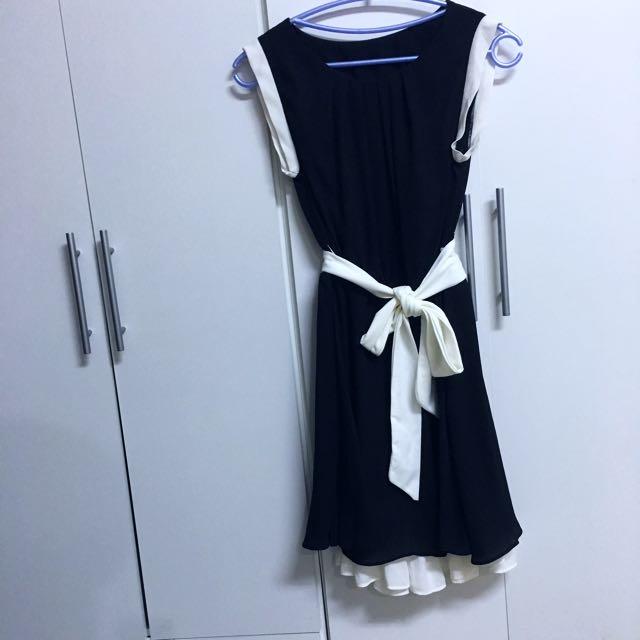 二手👚黑白甜美氣質無袖縮腰洋裝