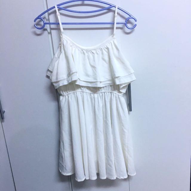 二手👚白色雪紡細肩荷葉短洋裝