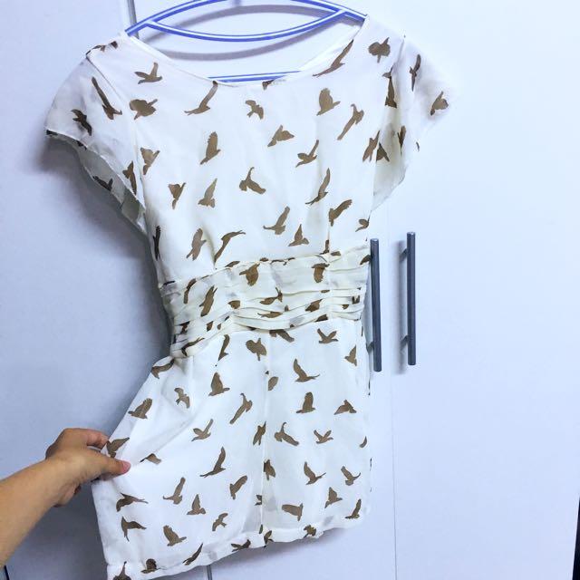全新👚米色海鷗圖雪紡綁帶連身褲裙