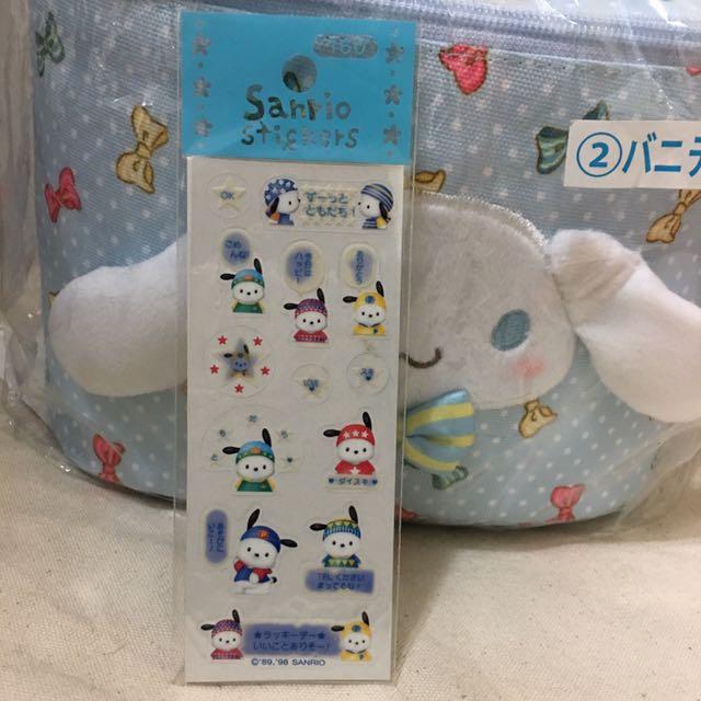 三麗鷗 sanrio kitty - pochacco 帕恰狗.小白狗 貼紙/轉印貼紙 (1998年/早期/絕版)