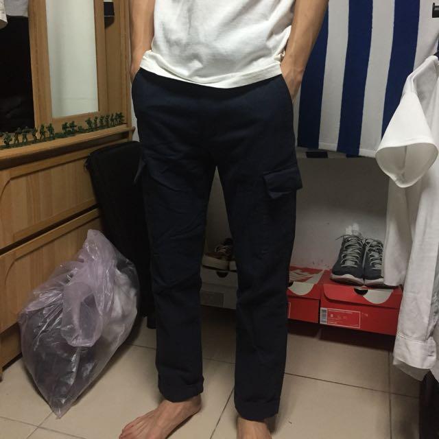 深藍 口袋工作褲