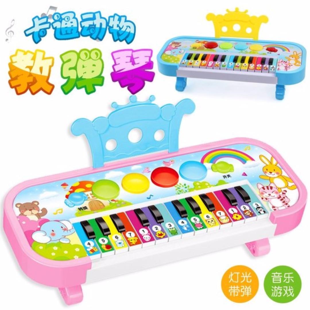兒童音樂電子琴 卡通動物教彈琴 嬰幼兒電動趣味琴 益智早教玩具