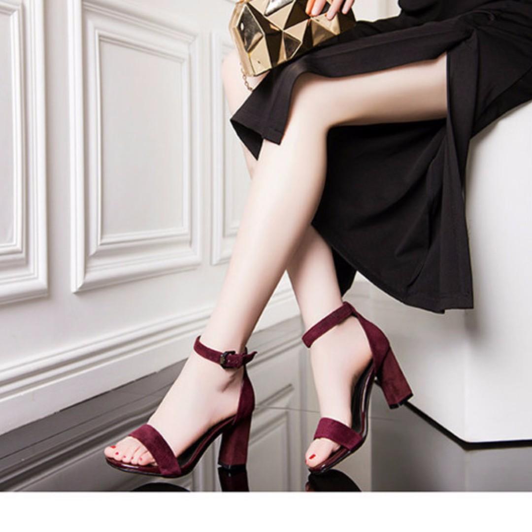 涼鞋 顯白色系 繞趾 粗跟涼鞋 中/高跟鞋 A060526 POCKET@PCK