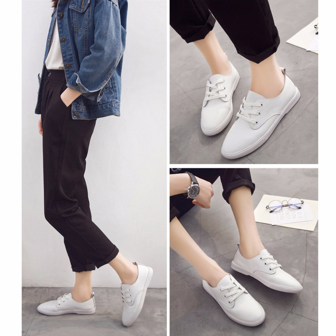 包鞋 簡約 真皮 尖頭 小白鞋/休閒鞋 A060528 POCKET@PCK