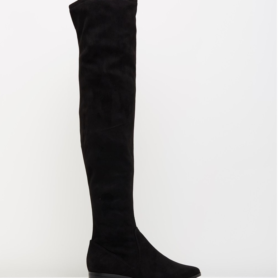 Aldo Women's Over Knee Thigh Black Micro Suede Boots Size 7 38 Brand New